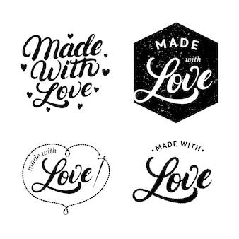 Set made with love handgeschreven belettering label, badge.