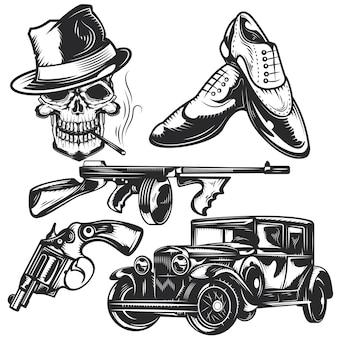 Set maffia-elementen voor het maken van uw eigen badges, logo's, labels, posters etc.