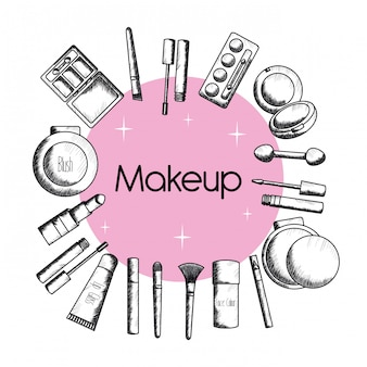 Set make-up accessoires tekenen