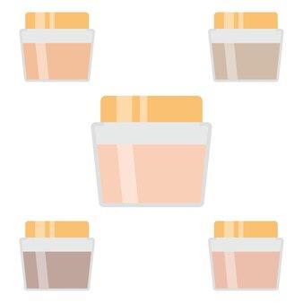 Set make-up artikelen. vijf crèmes voor de huid. vector illustratie.