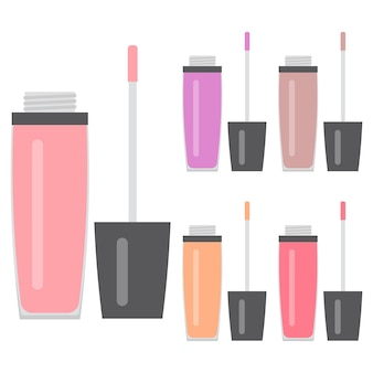 Set make-up artikelen. vijf heldere lipgloss. vector illustratie.