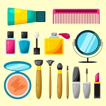 Set make-up en cosmetische illustratie