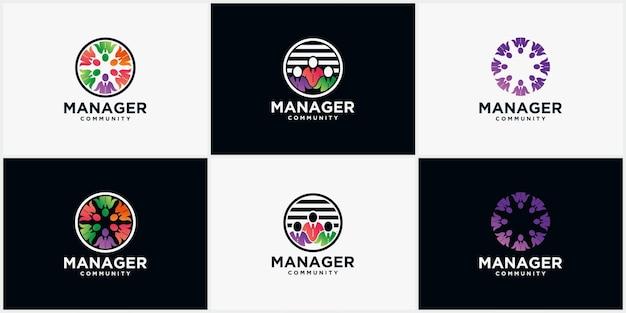 Set manager community-logo, mensen, voor mensengemeenschap en mensenvereniging modern bedrijfslogo