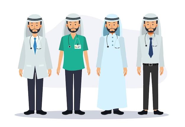 Set mannelijke arabische arts tekens. ziekenhuis werknemer en medisch personeel. platte vector cartoon karakter illustratie.
