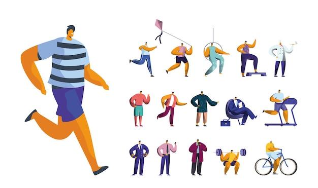 Set mannelijke personages joggen, spelen met vlieger, oefeningen, luchtgymnastiek en chef-kok. mannen lopen op loopband, zakenman en piloot baan, geïsoleerd op een witte achtergrond. cartoon mensen vectorillustratie