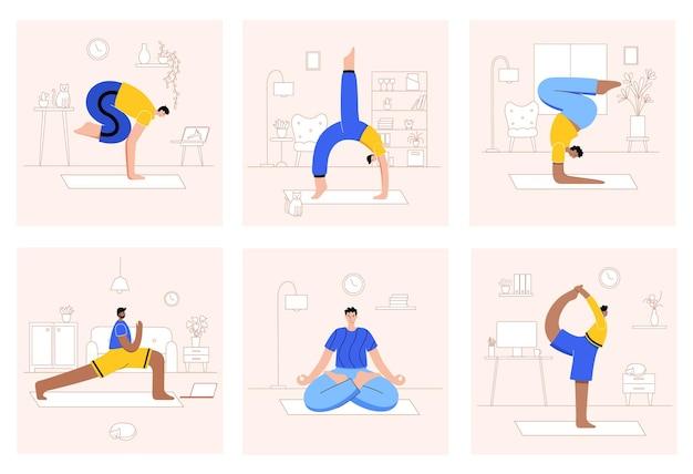 Set mannen die thuis of op het werk yoga-oefeningen uitvoeren.