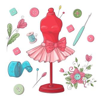 Set mannequin naai-accessoires.