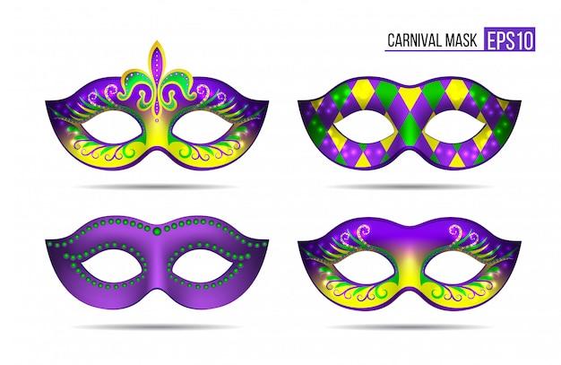 Set mardi gras-maskers