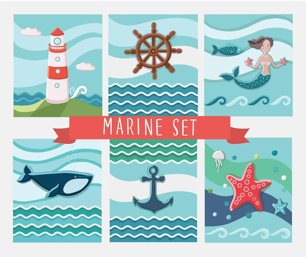 Set mariene wenskaarten en zee-elementen collectie illustraties