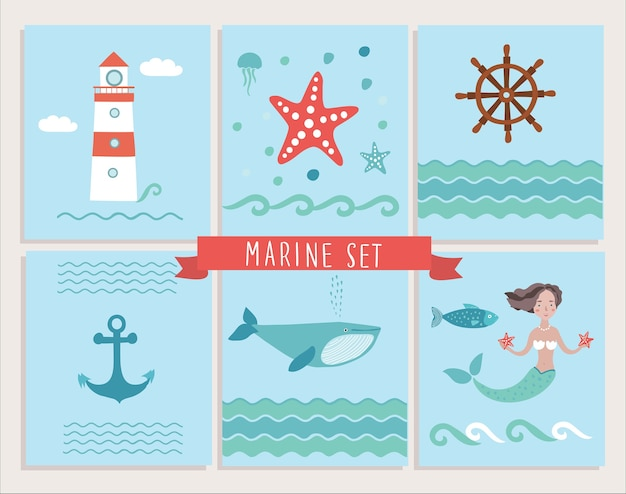 Set mariene wenskaarten en zee-elementen