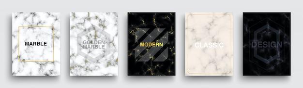 Set marmeren textuur posters. luxe covers sjabloonontwerp. minimale witte, donkere, roze marmoreal achtergronden met gouden lijn