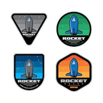 Set mars space mission-badges Premium Vector