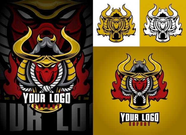 Set mascotte logo esport samurai