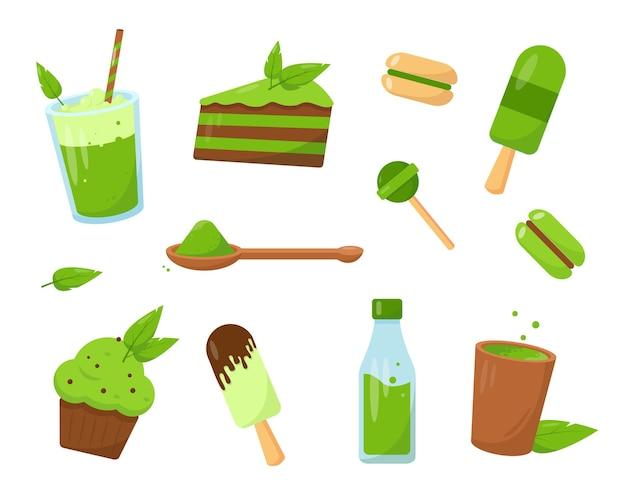 Set matcha-desserts. ijs, cake, snoep en drankjes gemaakt van matcha. snoepje geïsoleerd op een witte achtergrond.