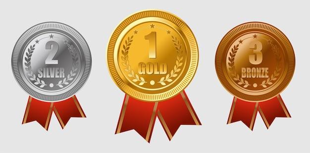 Set medailles voor eerste tweede en derde plaats goud zilver brons