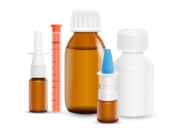 Set medicijnen voor de behandeling van verschillende aandoeningen en symptomen.
