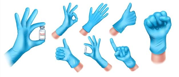Set medische beschermende handschoenen gemaakt van blauwe latex.