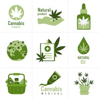 Set medische cannabis of marihuana natuurlijk product ganja legalisatie hennepblad drugsgebruik concept