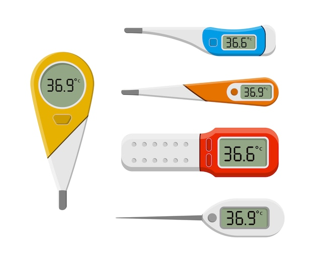 Set medische thermometers voor ziekenhuis tijdens coronavirus. een set tools voor het meten van de warmte van het menselijk lichaam in een vlakke stijl. elektronische thermometer voor het meten van de temperatuur. .