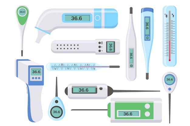 Set medische thermometers voor ziekenhuis tijdens coronavirus. elektronische thermometers, infrarood, vloeistof, lichaamstemperatuur meten, voedsel, milieu. gezondheid en ziekten concept. illustratie.