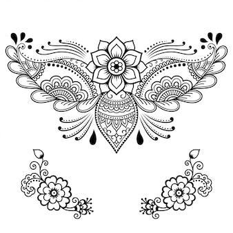 Set mehndi bloem. decoratie in etnische oosterse, indiase stijl. doodle ornament. overzicht hand tekenen illustratie.