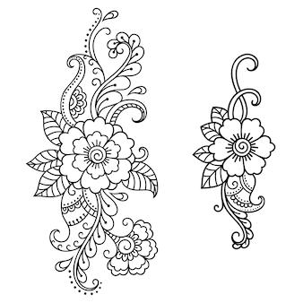 Set mehndi-bloem. decoratie in etnische oosterse, indiase stijl. doodle sieraad. overzicht hand tekenen illustratie.