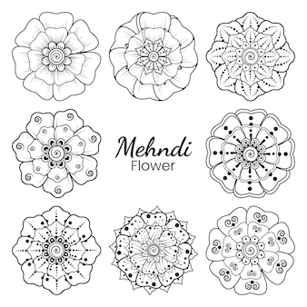 Set mehndi bloem in etnische oosterse stijl doodle hand tekenen illustratie kleurboekpagina