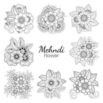 Set mehndi bloem in etnische oosterse stijl doodle ornament overzicht hand tekenen illustratie kleurboekpagina