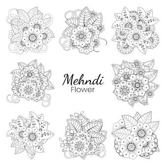 Set mehndi bloem in etnische oosterse stijl doodle ornament overzicht hand tekenen illustratie kleurboekpagina Premium Vector
