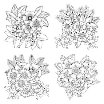 Set mehndi bloem in etnische oosterse stijl fotoboekpagina kleurplaten