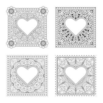 Set mehndi bloem ornament in etnische oosterse stijl fotoboekpagina kleurplaten