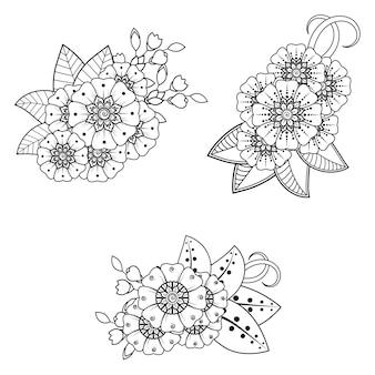 Set mehndi-bloem voor henna, mehndi, tatoeage, decoratie. decoratief ornament in etnische oosterse stijl. doodle sieraad. overzicht hand tekenen illustratie. kleurboek pagina.