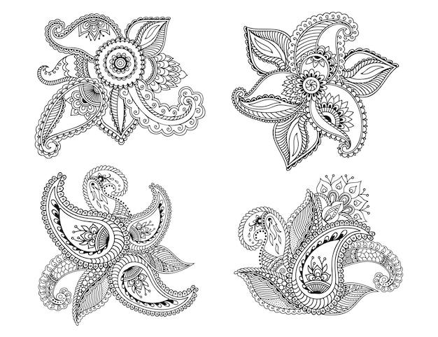Set mehndi bloemenpatroon. decoratie in etnisch oosterse, indiase stijl. krabbel sieraad. overzicht hand tekenen illustratie.