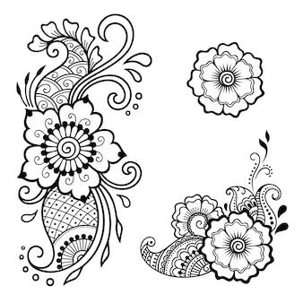 Set mehndi bloemenpatroon en mandala voor henna-tekening en tatoeage.