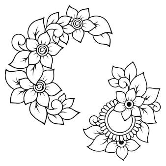 Set mehndi bloemenpatroon voor henna tekenen en tatoeage. decoratie in etnisch oosterse, indiase stijl. krabbel sieraad. overzicht hand tekenen vectorillustratie.