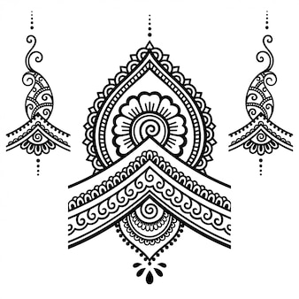 Set mehndi-bloemenpatroon voor henna-tekening en tatoeage.