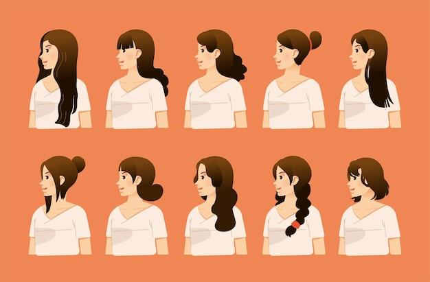 Set meisje karakter met verschillende kapsels van zijaanzicht vlakke afbeelding. gebruikt voor mensenkarakter en andere