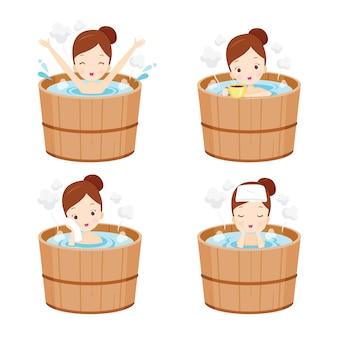 Set meisje ontspannen in warmwaterbron bad, japanse onsen