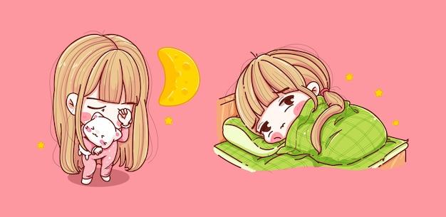 Set meisje slapen op slaapkamer geïsoleerd op roze