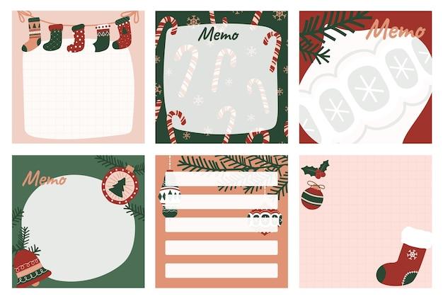 Set memo kerstversiering briefpapier voor notities taken om lijst organisator en planner te doen