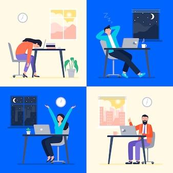 Set mensen die dag en nacht werken in een plat ontwerp