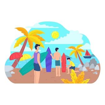 Set mensen die zomersporten en vrijetijdsactiviteiten in de buitenlucht uitvoeren op het strand