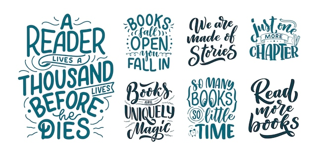 Set met abstracte belettering over boeken en lezen voor ontwerp.