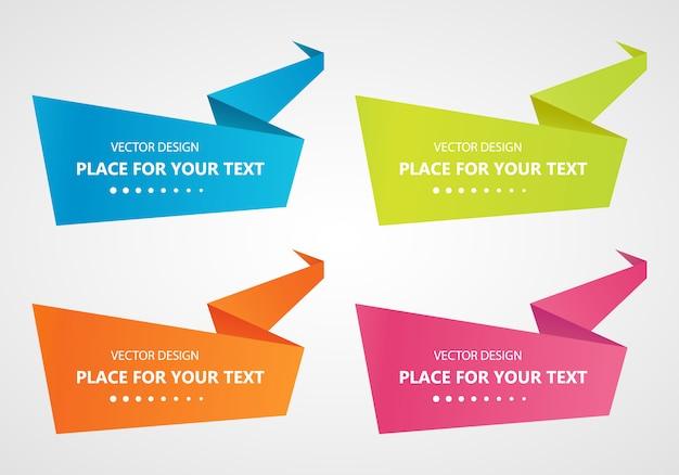 Set met abstracte origami tekstballonnen banner set