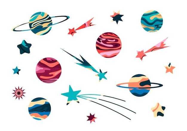 Set met abstracte planeten en sterren