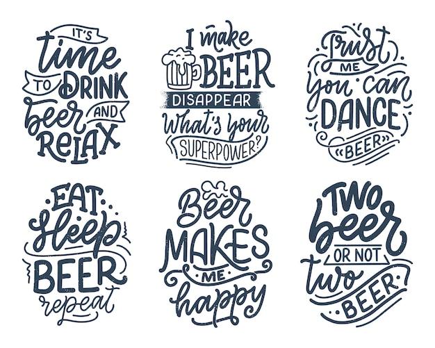 Set met belettering citaten over bier in vintage stijl. kalligrafische s voor t-shirt print.