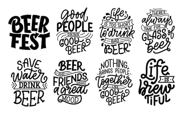 Set met belettering citaten over bier