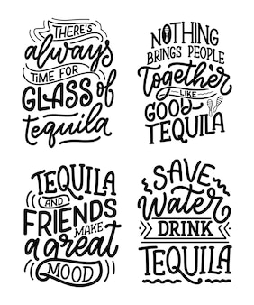 Set met belettering citaten over tequila