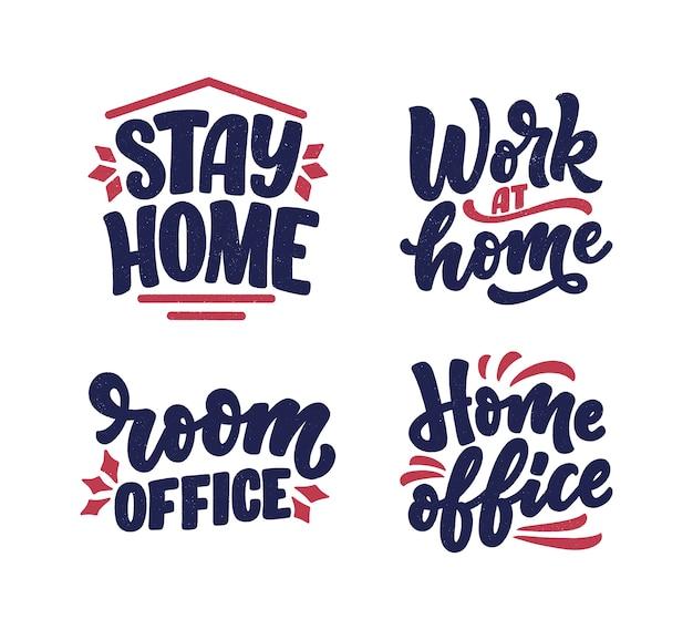 Set met belettering slogans over thuis blijven