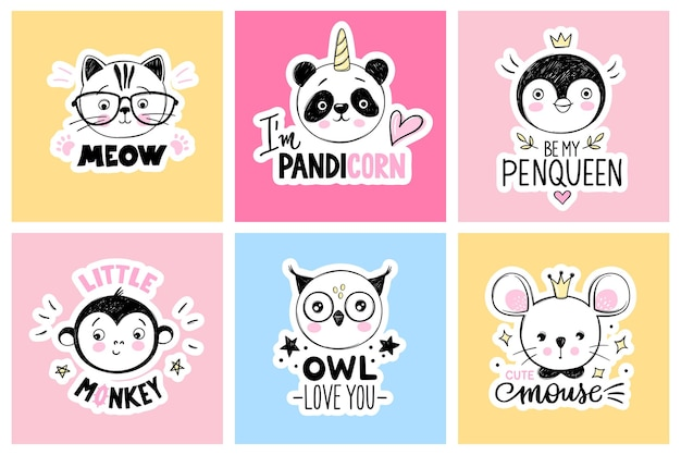 Set met cartoon doodle dieren panda kat kat aap uil muis pinguïn grappige citaten